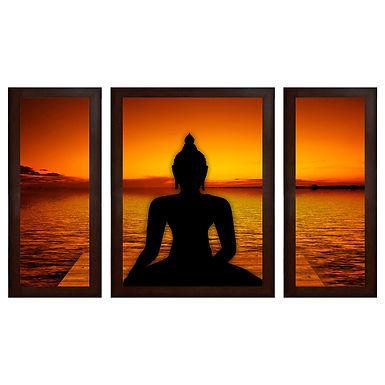 Buddha Shadow MDF Wall Art (13.5 x 24 x 0.75 Inch , Set of 3)