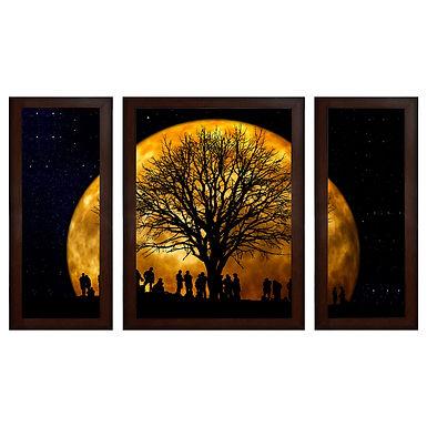 Moon's Shadow MDF Wall Art (13.5 x 24 x 0.75 Inch , Set of 3)