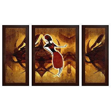 Modern Art MDF Wall Painting (13.5 x 24 x 0.75 Inch , Set of 3)