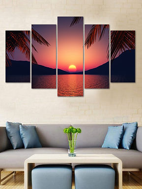 WENS Velvet Laminated Divine Nature Beauty  5 Panels Wall Art