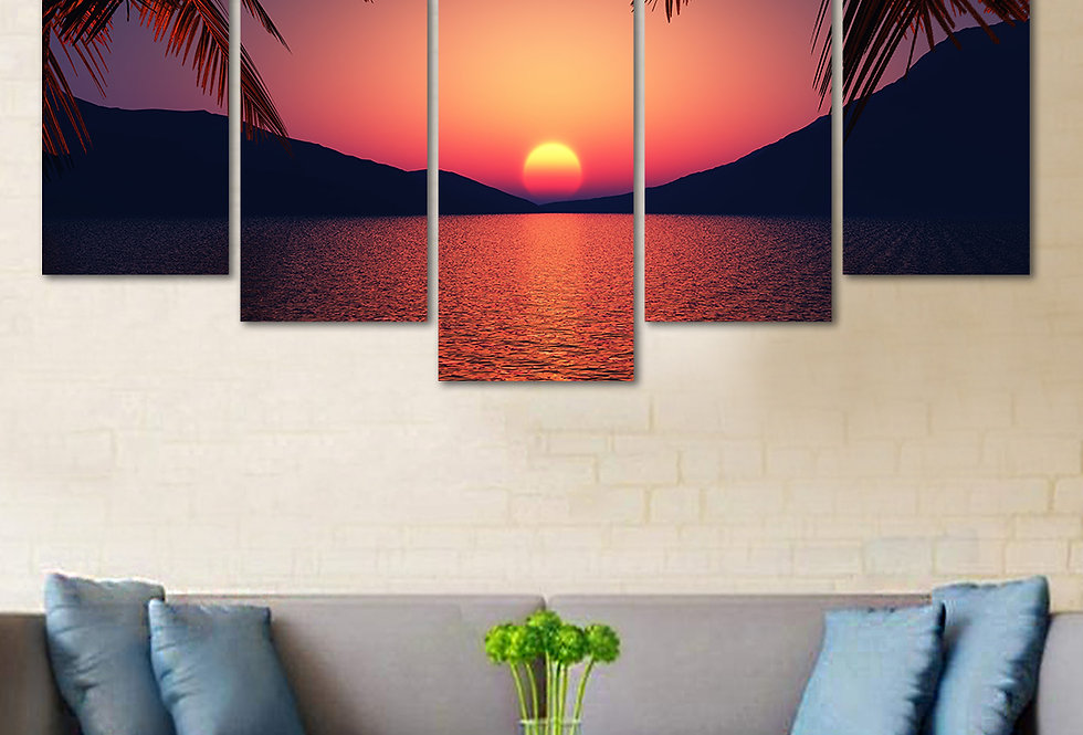 WENS Velvet Laminated Divine Nature Beauty  5 Panels Wall Art