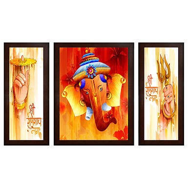 Krishna Playing Flute MDF Wall Painting (13.5 x 24 x 0.75 Inch , Set of 3)