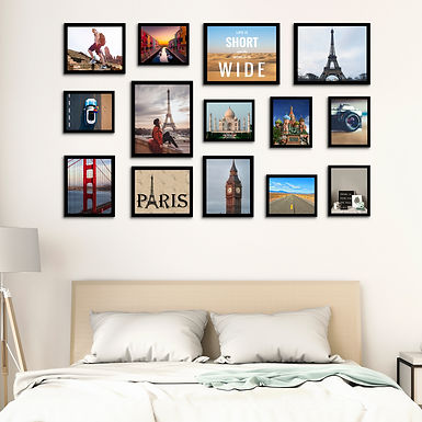 WENS  Set of 14  Synthetic Wood Wall Mounted Photo Frames-Black
