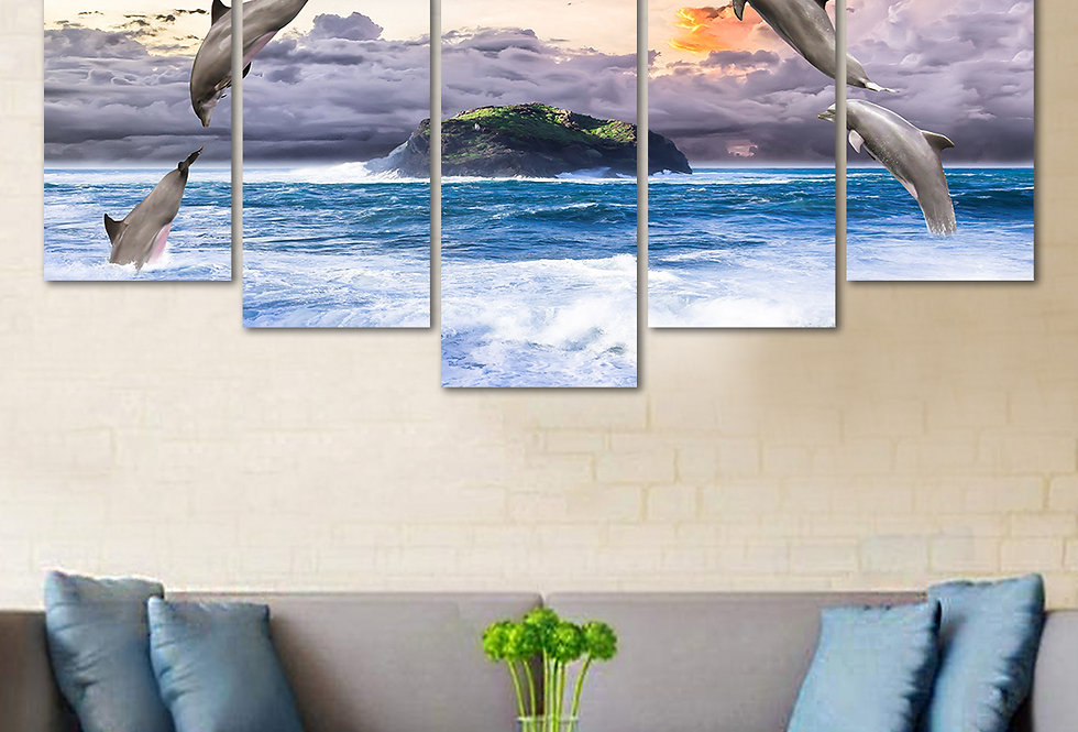WENS Velvet Laminated  Dolphin Jump Vastu 5 Panels  Wall Art