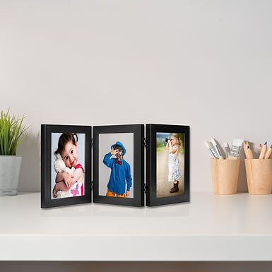 """Wens Trio Table Photo Frames With Acrylic Glass- Displays Three 5""""x7"""" Inch photo"""