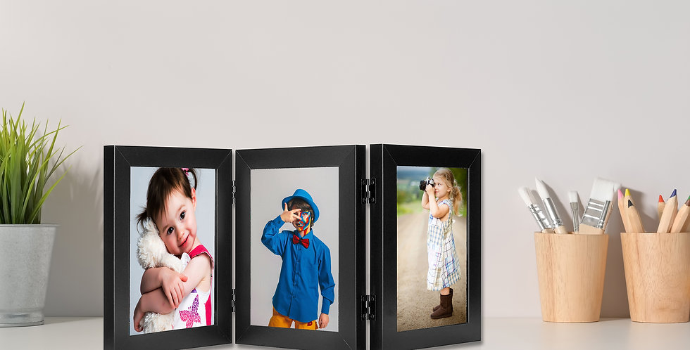 "Wens Trio Table Photo Frames With Acrylic Glass- Displays Three 5""x7"" Inch photo"