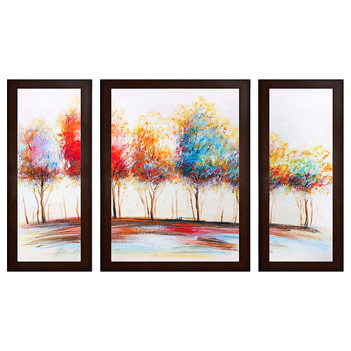Colorful Textured Tree MDF Wall Painting (13.5 x 24 x 0.75 Inch , Set of 3)
