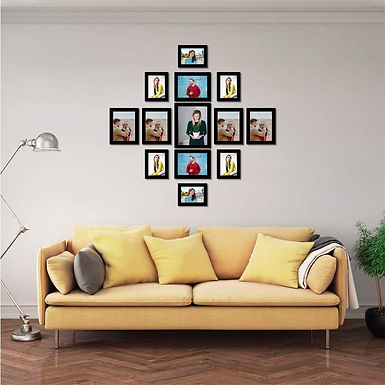 WENS Set of 13  Synthetic Wood Wall Mounted Photo Frames - Black
