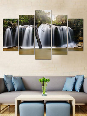 WENS Velvet Laminated  Waterfall 5 Panels  Wall Art