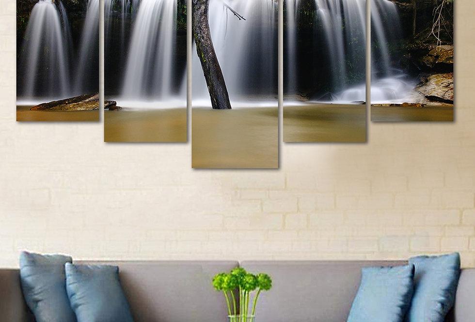 WENS Velvet Laminated  Waterfall 5 Panels  Wall Art
