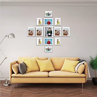 WENS Set of 13  Synthetic Wood Wall Mounted Photo Frames - White