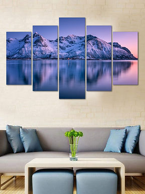 WENS Velvet Laminated  Snow On Mountain 5 Panels  Wall Art