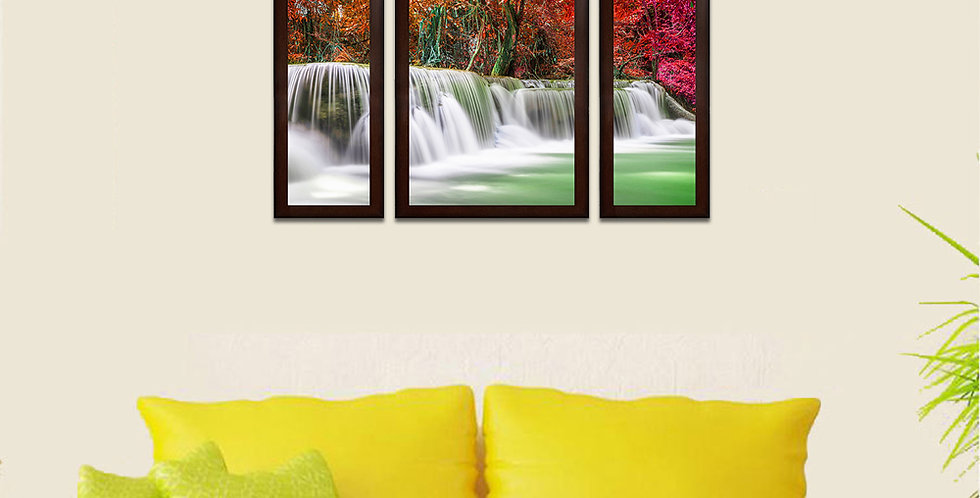 Beautiful Waterfall Set of Of 3 MDF Wall Art (13.5 x 24 x 0.75 Inch , Set of 3)