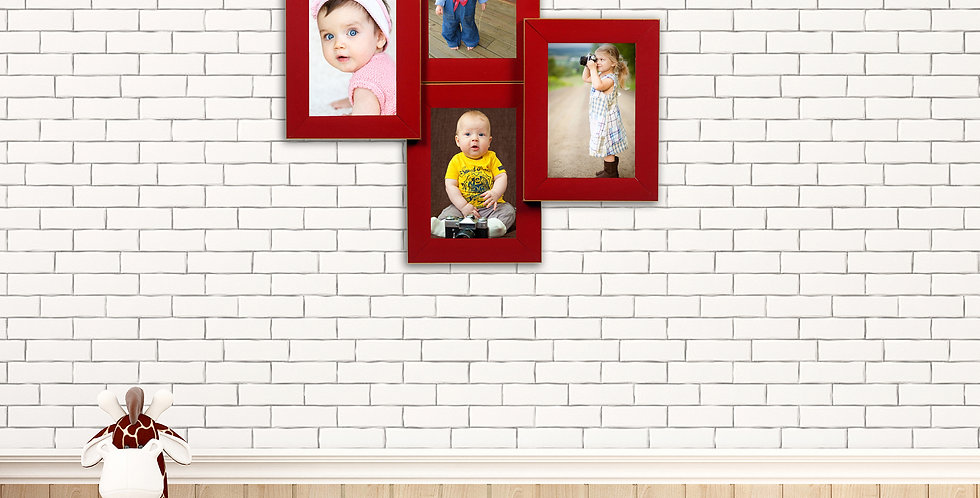 WENS 4 Openings  Decorative Wall Hanging Collage  Photo Frame - Red