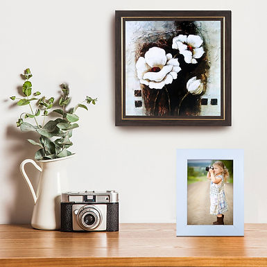 WENS Wall Mounted & Table Photo Frame with Acrylic Glass - White