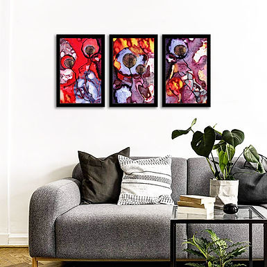 """WENS Framed """"Colorful Modern Wall Art Painting"""" Set of 3"""