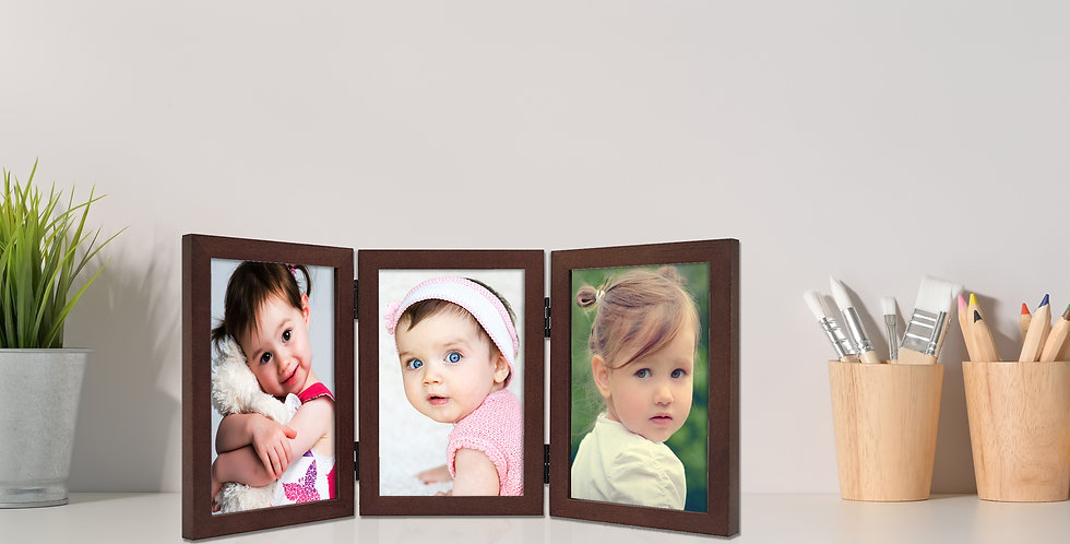 "Wens Trio Table Photo Frame With Acrylic Glass to Display Three 5""x7"" Inch photo"
