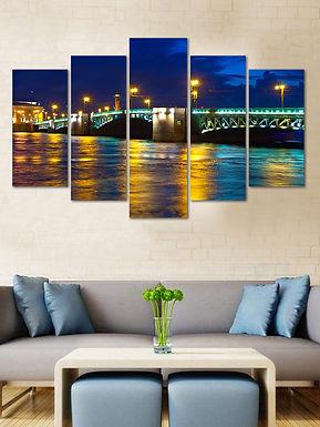 WENS Velvet Laminated Blue Wonder Bridge 5 Panels Wall Art