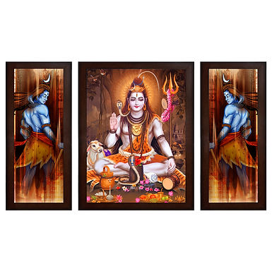 Lord Shiva MDF Wall Art (13.5 x 24 x 0.75 Inch , Set of 3)