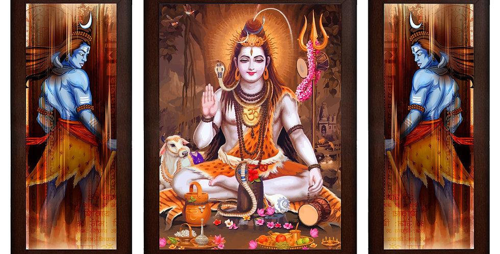 Lord Shiva MDF Wall Art (13.5 x 24 x 0.75 Inch , Set of 3)
