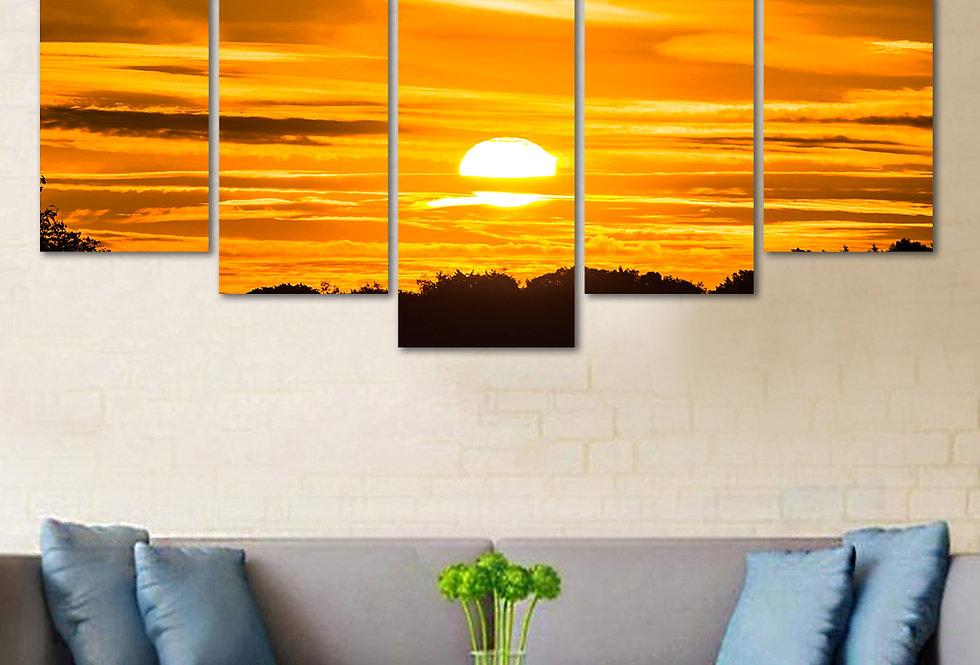 WENS Velvet Laminated Nature's Beauty  5 Panels Wall Art