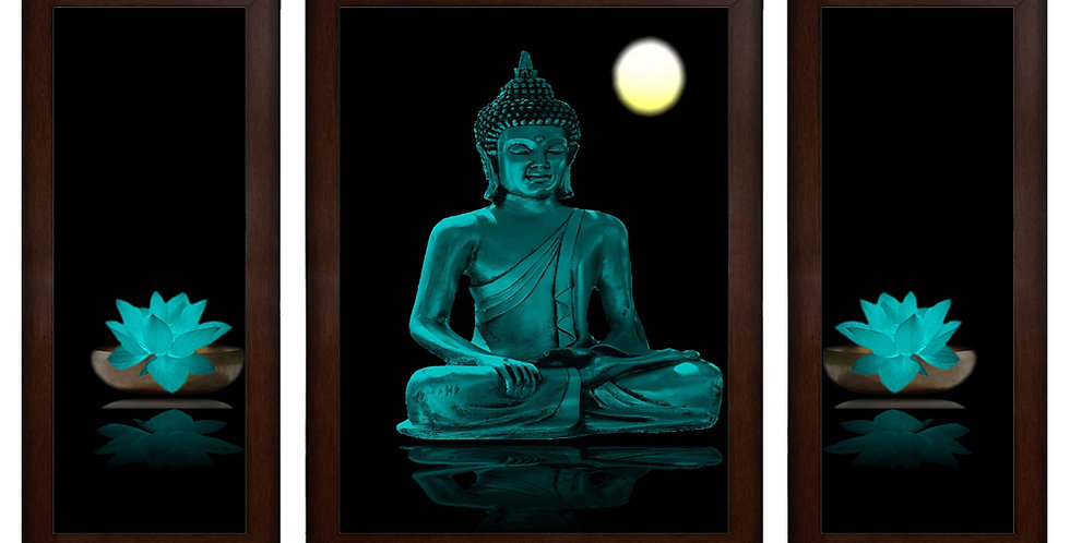 Devine Beauty Of Buddha In Night Wall Painting (13.5 x 24 x 0.75 Inch , Set of 3