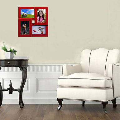 WENS 4 Openings  Decorative Wall Hanging Collage Picture Photo Frame - Red