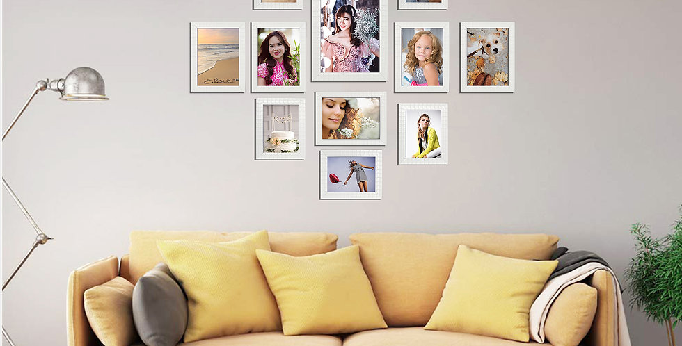 WENS Set of 12  Synthetic Wood Wall Mounted Photo Frames- White