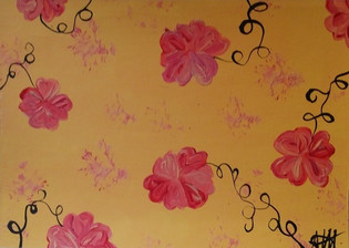 Jaune et fleurs roses P09