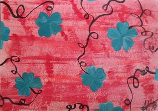 Rose et fleurs bleues P04