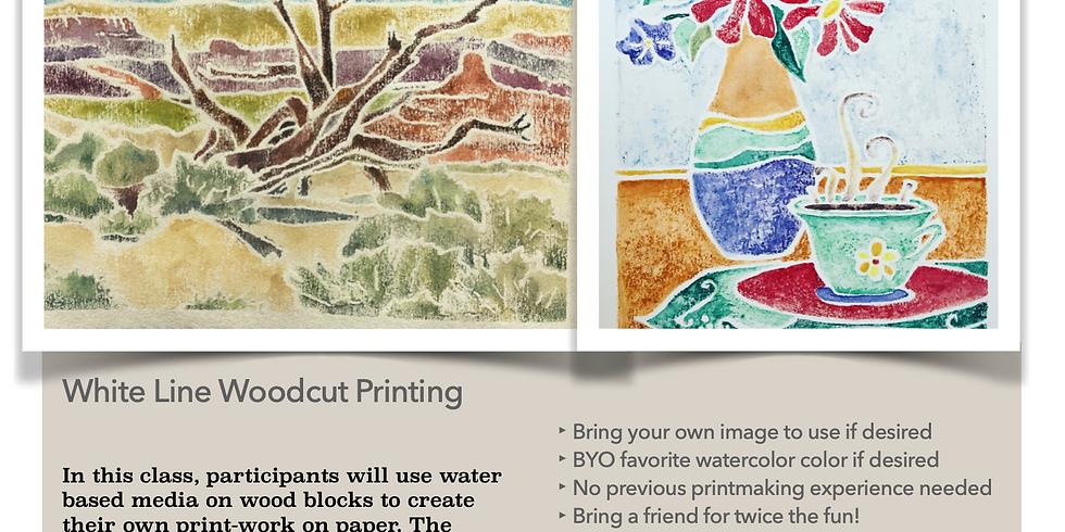 White Line Wood cut printmaking