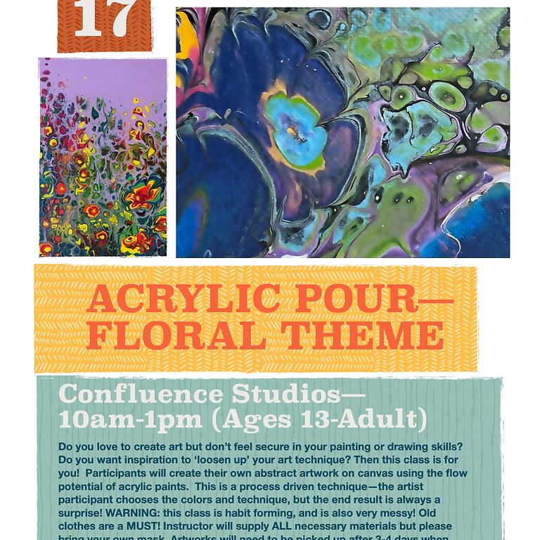 Acrylic Pour: Floral Theme