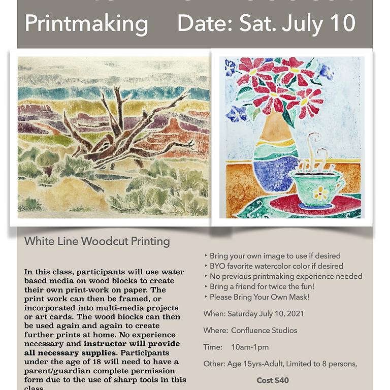 White Line Woodcut Printmaking