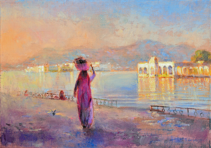 Purple sari, Lake Pichola