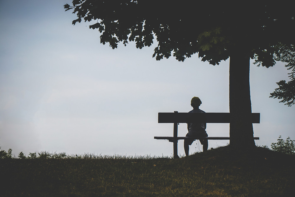 a young boy sitting on a bench and looking at the horizon