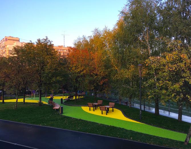 Мы приступили к монтажу EPDM покрытия в парке поймы реки Битца