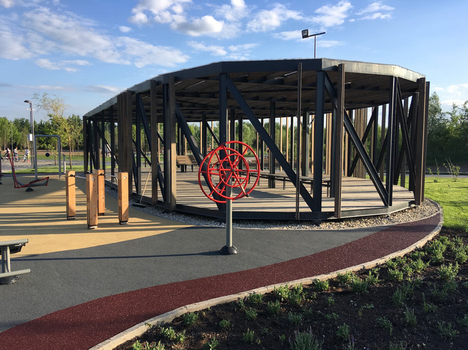 Новая спортивная зона в парке Братеевской поймы