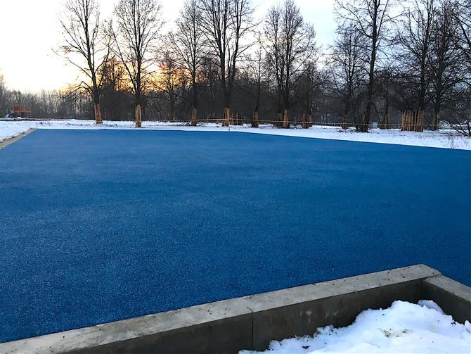 Покрытие спортивной площадки в парке Строгинской поймы!
