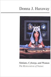 """""""Inhabiting these pages are odd boundary creatures - simians, cyborgs, and women - all of which have had a destabilizing place in the great Western evolutionary, technological, and biological narratives. These boundary creatures are, literally, monsters, a word that shares more than its root with the word, to demonstrate. Monsters signify.""""  Donna Haraway, """"Simians, Cyborgs, and Women"""" (Routledge Taylor and Francis Group, 1991), page 2."""
