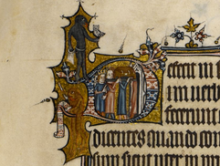 """British Library Add MS 3277, """"The Bohun Psalter"""" (England, 1356-73), f.84r (detail)."""