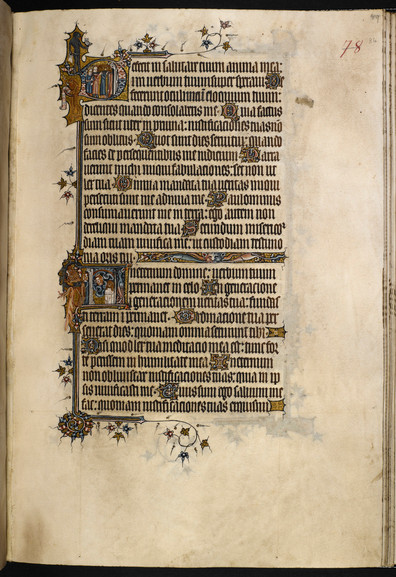 """In her essay, """"Rhetorical Strategies in the pictorial imagery of fourteenth-century manuscript: the case of the Bohun Psalters,"""" Lucy Freeman Sandler writes, """"I would also suggest that the ancient association of apes and art is a basis for identification of the ape as artist"""" in this fourteenth-century English Psalter. She draws from this interpretation insights into the artist's relationship with the patron and scribe, who are represented in the manuscript as a lion and bear.  British Library Add MS 3277, """"The Bohun Psalter"""" (England, 1356-73), f.84r.  Lucy Freeman Sandler, """"Rhetorical Strategies in the pictorial imagery of fourteenth-century manuscript: the case of the Bohun Psalters,"""" Rhetoric Beyond Words: Delight and Persuasion in the Arts of the Middle Ages, ed. Mary Carruthers (Cambridge University Press, 2010), 96-123."""