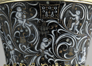Beaker with Apes. (Burgundian, c.1425-50), The Cloisters Collection, New York. (Detail)