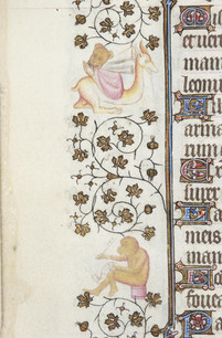 """Medieval artists would have been familiar with the etymological connection of """"simia"""" to the words """"similitudo"""" (likeness) and """"simulacrum"""" (image), both of which, alongside words like """"pictura,"""" were used to refer to crafted images and portraits.  Image: Morgan MS 919, Hours (Paris, c.1418), f.52v (detail)."""