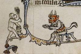 One of the peculiarities of monkey representation is the way that their bums are drawn, with the crack visible even though we usually see the body from the side. This glyph, consistent across many late thirteenth- and early fourteenth-century Northern European manuscripts, is unique to the monkey.31 It stands out in a figure that otherwise tends to change constantly, assuming disguises and switching genders. Perhaps it is wrapped up in the aggregate of jokes in European culture around monkey bums. It might also be a visual pun on the open book itself, with its smooth, rounded surfaces that disappear into the binding.   Bodleian Library MS Douce 6, Book of Hours (Ghent, c.1320-30), f.181v.