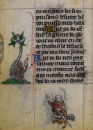 """In the margin of this fourteenth-century book of hours from the city of Maastricht, a monkey sits beneath a tree spinning thread from the decorative extensions of the nearby letter 'A,' which begins the following verse:  Ave tu ki nes pas faiture  mais tote riens ta creature  (Hail you who are not made  but every being is your creature.)   """"Faiture"""" comes from the Latin """"facere"""" (to make), a word often used in medieval books and objects to establish artistic authorship, and from which we get early art historical keywords like """"facture"""" and """"artifice."""" This verse addresses a creator god, but the monkey, drawing lines from the text, gestures toward the creation and illumination of the book itself. It embodies the act of image-making particular to marginal art and to the integral role that threadlines play in the visual program of this book. """"Faiture,"""" moreover, was linked in medieval French to acts of sorcery or deceit. Its association with the monkey in this context reminds the reader of the subordinate status of images.  British Library MS Stowe 17, Book of Hours (Maastricht, 1st quarter of the 14th cent.), f.259v."""