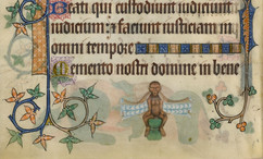 """This monkey in the bas-de-page of the Luttrell Psalter straddles a stool and gapes at the viewer as its cape unfurls to reveal a textile pattern traditionally worn by nobles.   Image: British Library Add MS 42130, """"The Luttrell Psalter"""" (Lincolnshire, 1325-40), f.189v"""