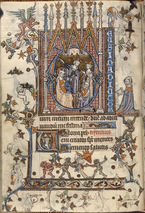 """British Library Add MS 36684, Book of Hours (Saint-Omer, c.1320), f.46v.  """"Opening her Book of Hours at Terce, the third canonical Hour of the day, which was at about 9 o'clock in the morning, a woman - who was possibly called Marguerite and who lived in the second quarter of the fourteenth century - would have seen herself on the 'dividing line' in the margin of the left-hand page. Holding up a tiny book - this book - she kneels before the Adoration of the Magi that takes place under the triple arches of a Gothic shrine built into the letter 'D' of the word, Deus. Looking down to the bas-de-page, she would have seen how three monkeys ape the gestures of the wise men above. Top-left, a spiky-winged ape-angel grasps the tail of the 'D', as if he is about to pull the string that will unravel it all. Another simian plays a more supportive role, holding aloft, Atlas-like, the platform on which she kneels.""""  - Michael Camille, Image on the Edge"""