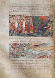 """This half-page miniature from the ninth-century Stuttgart Psalter depicts the Israelites in the desert confronting two figures representing Egyptian gods - a monkey seated atop a mound and a satyr standing below. The satyr conventionally symbolizes the devil, but all eyes are on the monkey, which is labeled in the singular, feminine declension (simia). Its form is rendered with the contours of its face and back repeated, or doubled like a hologram. This doubling could be read as a sign of """"simiolatry,"""" a concept from early western theology that refers to the representation of """"false idols"""" or """"graven images."""" Perhaps the spectral effect conveyed by this form was intended to bring to mind the Apostle Paul's well-known teaching that """"[a]n idol is nothing"""" (1 Corinthians 8:4), a verse that was referenced often in the writings of Origen and Hrabanus Maurus. The Stuttgart artist here seems to be experimenting with the question of how to represent """"nothing"""" - an illusion, a ghost, a false image.   Stuttgart Landesbibliothek, Cod.bibl.fol.23., The Stuttgart Psalter (Saint-Germaine-des-Pres, c.820-30), folio 93v. Text from Psalms 77:51-54."""