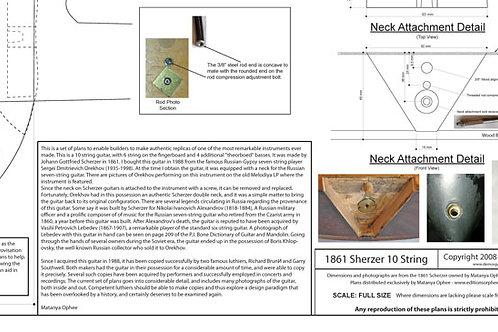 1862 Scherzer 10 String Harp Guitar Plans