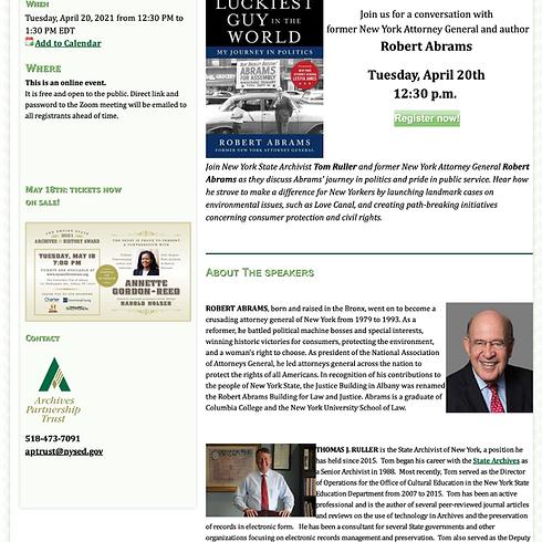 New York Archives Magazine: Online Speaker Series